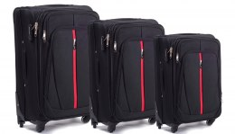 1706(4), Sets of 3 suitcases Wings 4 wheels L,M,S, Black