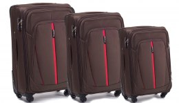 1706(4), Sets of 3 suitcases Wings 4 wheels L,M,S, Coffee