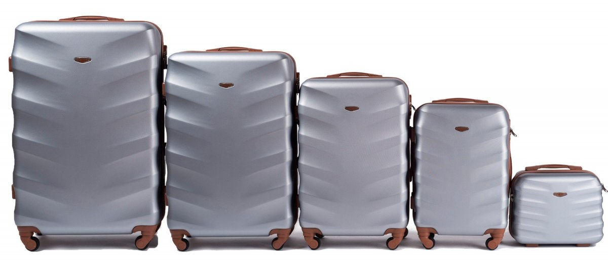 402, Luggage 5 sets (L,M,S,XS,BC) Wings, Silver white