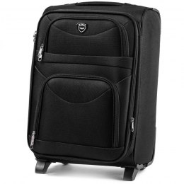 6802(2), Large soft travel suitcase 2 wheels Wings L, Black