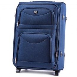 6802(2), Large soft travel suitcase 2 wheels Wings L, Blue