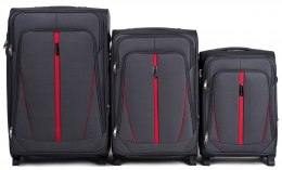 1706(2), Sets of 3 suitcases Wings 2 wheels L,M,S, Dark grey