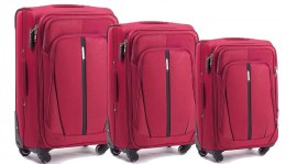 1706(4), Sets of 3 suitcases Wings 4 wheels L,M,S, Double red