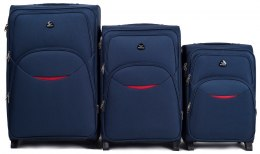 1708(2), Sets of 3 suitcases Wings 4 wheels L,M,S, Blue