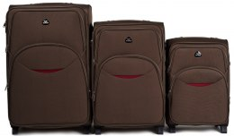 1708(2), Sets of 3 suitcases Wings 4 wheels L,M,S, Coffee