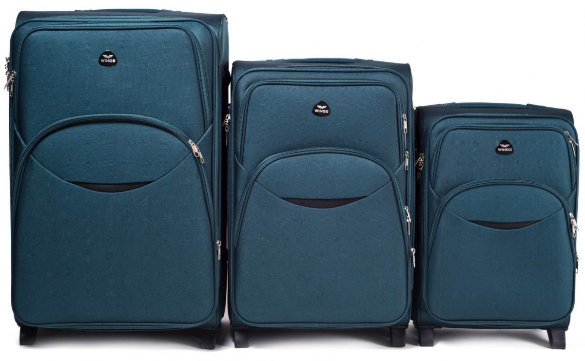 1708(2), Sets of 3 suitcases Wings 4 wheels L,M,S, D. Green