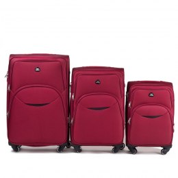 1708(4), Sets of 3 suitcases Wings 4 wheels L,M,S, Red