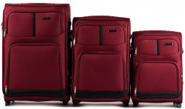 206(2), Sets of 3 suitcases Wings 2 wheels L,M,S, Double red