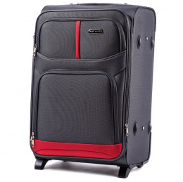206(2), Large soft travel suitcase 2 wheels Wings L, Double grey
