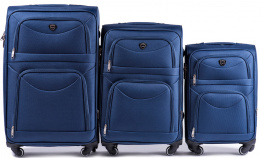 6802(4), Sets of 3 suitcases Wings 4 wheels L,M,S, Blue