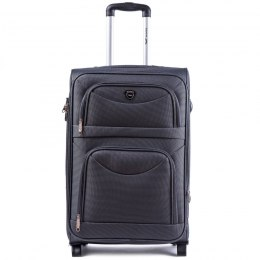 6802(2), Large soft travel suitcase 2 wheels Wings L, Dark grey