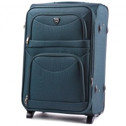 6802(2), Large soft travel suitcase 2 wheels Wings L, Dark green