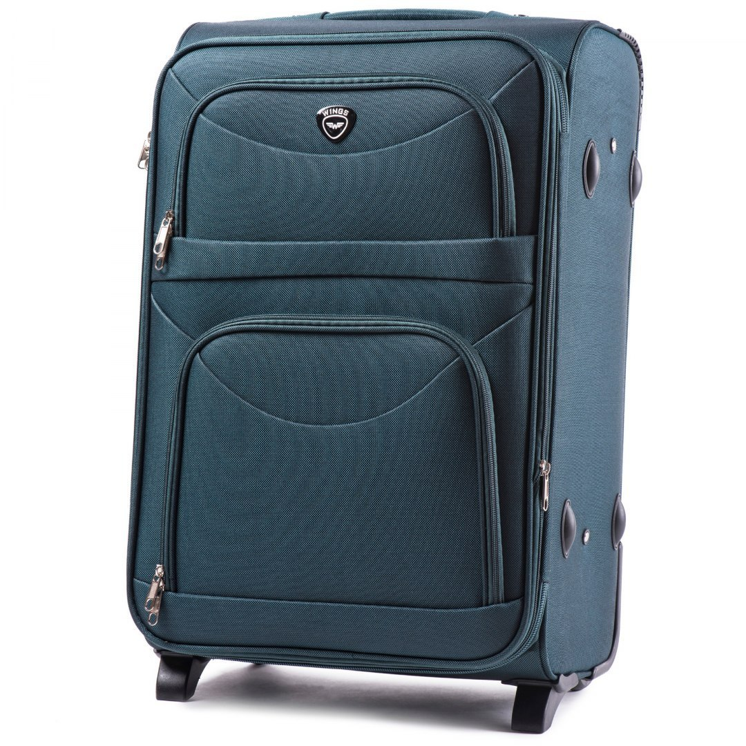 6802(2), Middle soft travel suitcase 2 wheels Wings M, Dark green