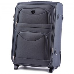 6802(2), Middle soft travel suitcase 2 wheels Wings M, Dark grey