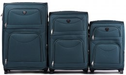 6802(2), Sets of 3 suitcases Wings 2 wheels L,M,S, Dark Green