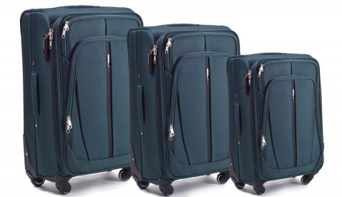 1706(4), Sets of 3 suitcases Wings 4 wheels L,M,S, Dark green