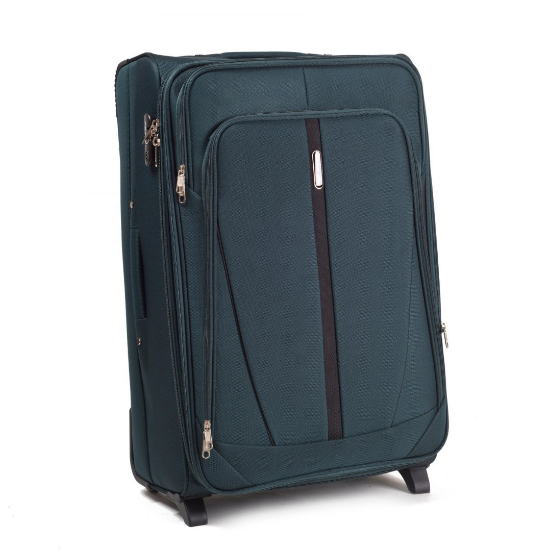 1706(2), Large soft travel suitcase 2 wheels Wings L, Dark green
