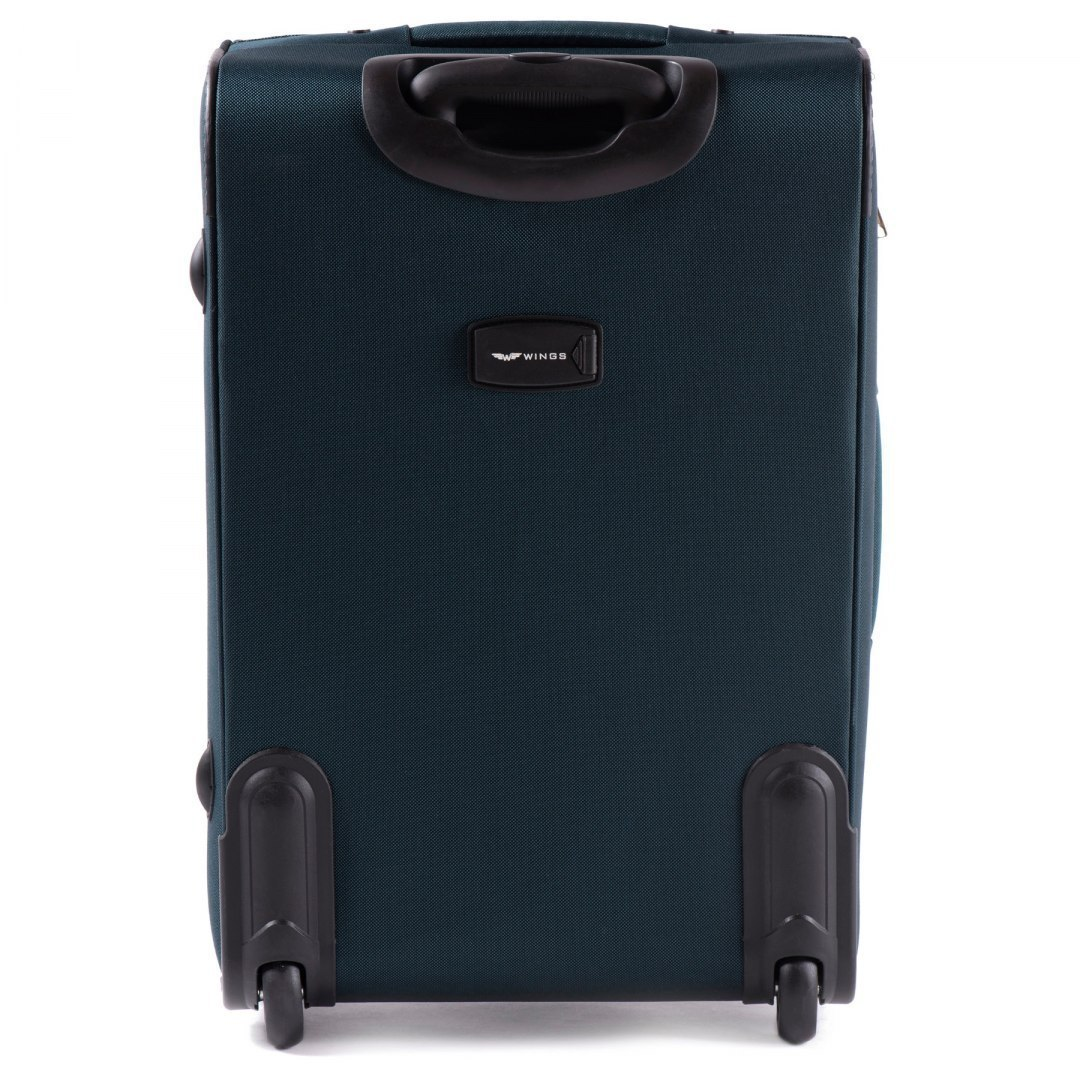 1706(2), Middle soft travel suitcase 2 wheels Wings M, Dark Green