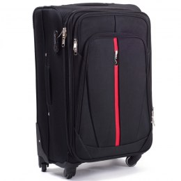 1706(4), Middle soft travel suitcase 4 wheels Wings M, Black