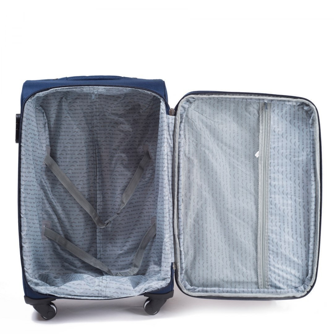 1706(4), Middle soft travel suitcase 4 wheels Wings M, Blue