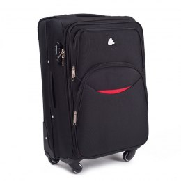 1708(4), Cabin soft travel suitcase 4 wheels Wings S, Black