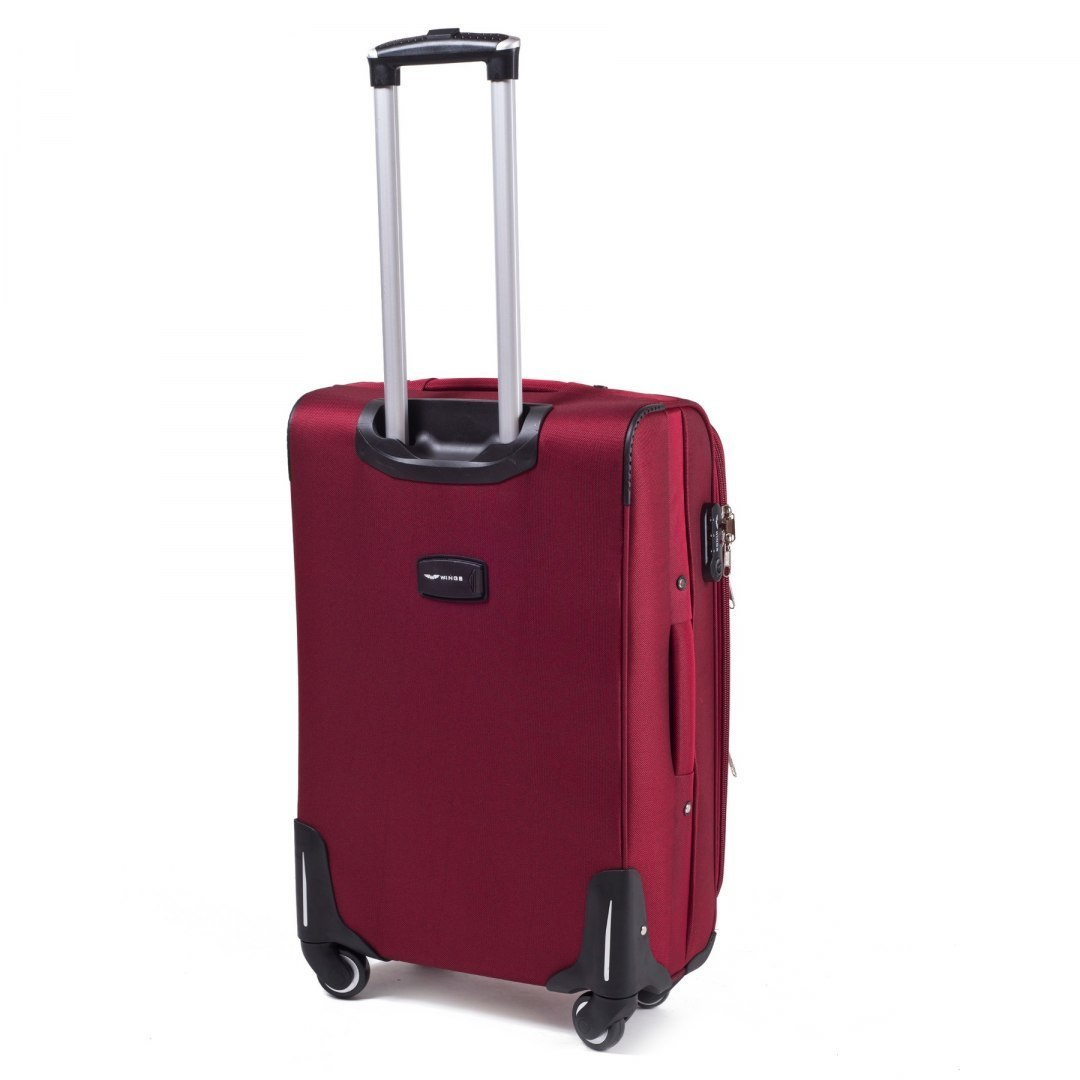 1708(4), Large soft travel suitcase 4 wheels Wings M, Dark red