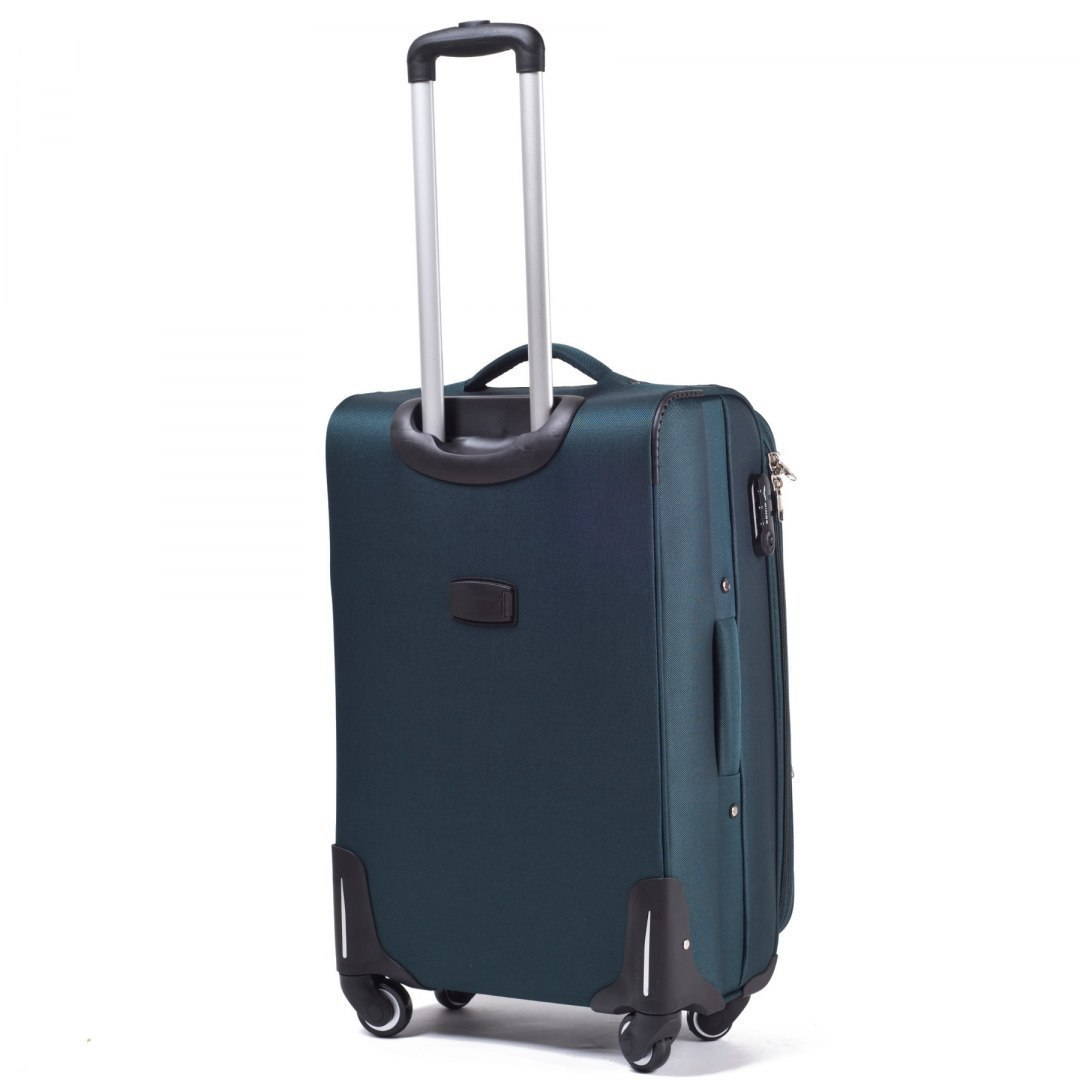 1706(4), Middle soft travel suitcase 4 wheels Wings M, Dark green