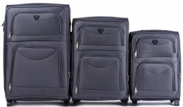 6802(2), Sets of 3 suitcases Wings 2 wheels L,M,S, Dark grey